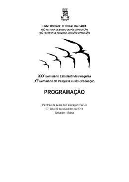 programação - Programa de Pós-graduação em Saúde, Ambiente e