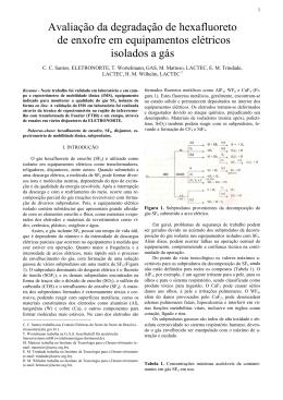 Avaliação da degradação de hexafluoreto de enxofre em