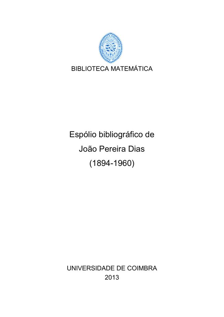 Esplio bibliogrfico de joo pereira dias 1894 fandeluxe Image collections