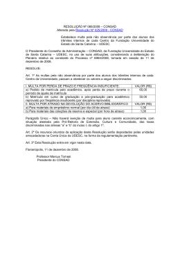 RESOLUÇÃO Nº 066/2008 – CONSAD - Estabelece multa