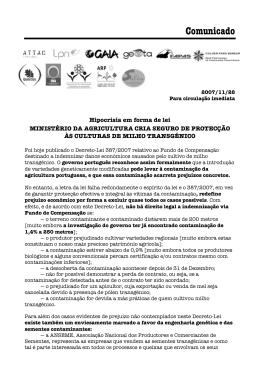 Comunicado - Plataforma Transgénicos Fora