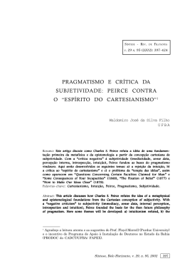 "pragmatismo e crítica da subjetividade: peirce contra o ""espírito do"