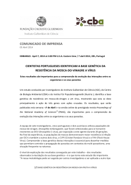 COMUNICADO DE IMPRENSA - Centre for Environmental Biology
