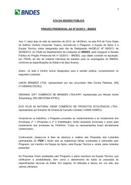ATA DA SESSÃO PÚBLICA PREGÃO PRESENCIAL AA Nº