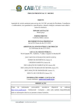 PREGÃO PRESENCIAL N.º: 003/2012 OBJETO Aquisição