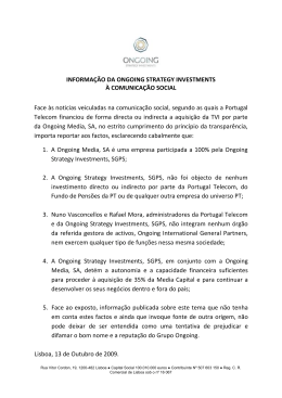 Comunicado da Ongoing Strategy Investments à Comunicação Social