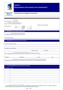 Modelo 1 - Requerimento para Registo por transcrição