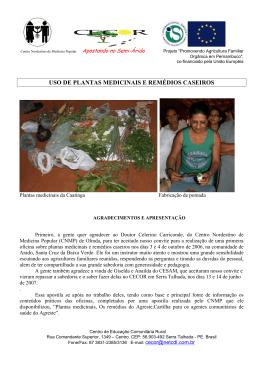 USO DE PLANTAS MEDICINAIS E REMDIOS CASEIROS