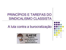 PRINCÍPIOS E TAREFAS DO SINDICALISMO CLASSISTA A