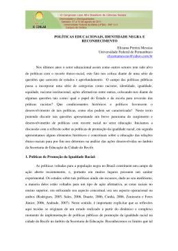 POLÍTICAS EDUCACIONAIS, IDENTIDADE NEGRA E