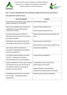 Lista dos trabalhos aprovados