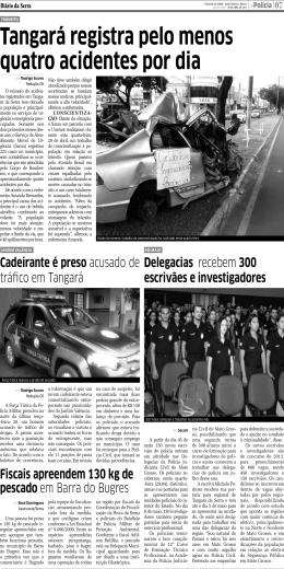 Tangará registra pelo menos quatro acidentes por dia