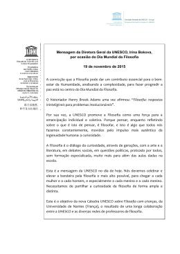 Mensagem da Diretora Geral da UNESCO, Irina Bokova, por