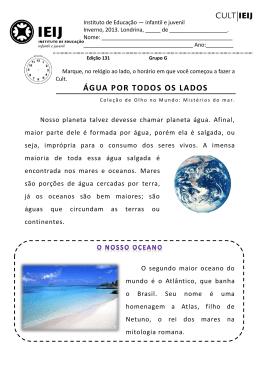ÁGUA POR TODOS OS LADOS - IEIJ - Instituto de Educação Infantil