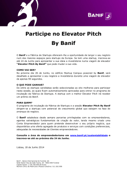 Participe no Elevator Pitch By Banif