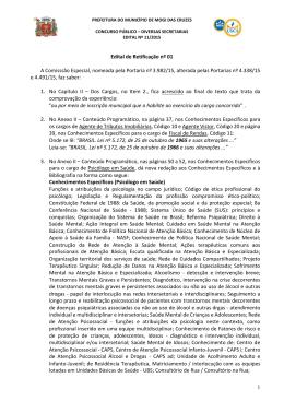 Retificação Edital - Prefeitura de Mogi das Cruzes/SP