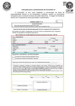 Instruções para o preenchimento do Formulário 14 - CRF-SP