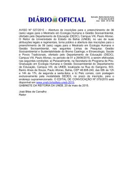 AVISO Nº 027/2015 – Abertura de inscrições para o preenchimento