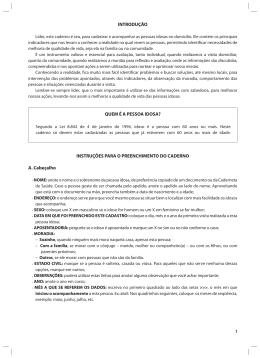 INSTRUÇÕES PARA O PREENCHIMENTO DO CADERNO A
