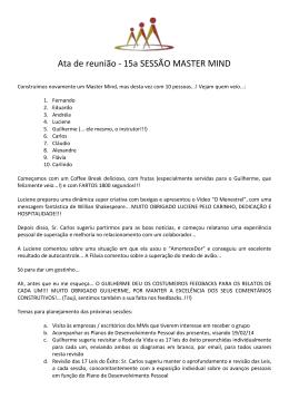 Ata de reunião - 15a SESSÃO MASTER MIND