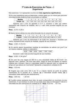 1 Lista de Exercícios de Física – I