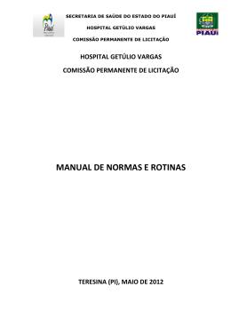 Manual de Normas e Rotinas - Comissão
