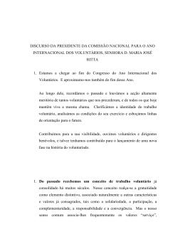 DISCURSO DA PRESIDENTE DA COMISSÃO NACIONAL PARA O