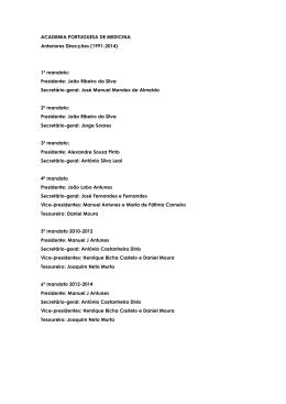 Orgãos de gestão anteriores - Academia Nacional de Medicina de