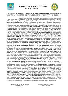 ROTARY CLUB DE TAGUATINGA SUL GESTÃO 2012-2013