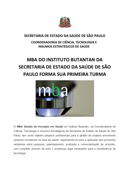 MBA DO INSTITUTO BUTANTAN DA SECRETARIA - BVS SES-SP