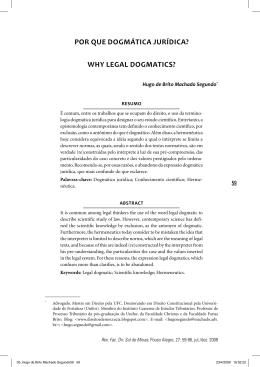 Por que dogmática jurídica?