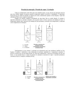 Cavitação e Tubo de Pitot