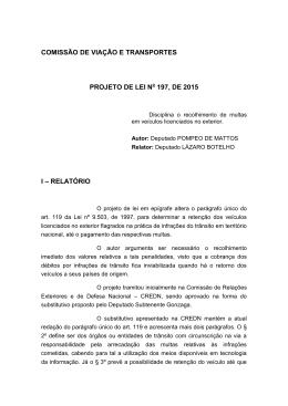 comissão de viação e transportes projeto de lei n 197, de 2015 i