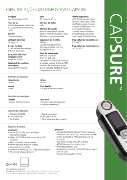 ESPECIFICAÇÕES DO DISPOSITIVO CAPSURE - X-Rite