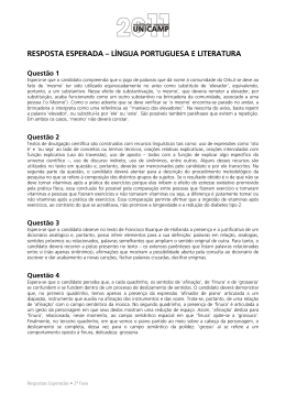 resposta esperada – língua portuguesa e literatura