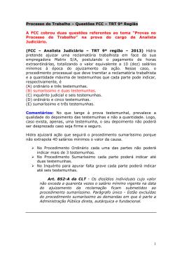 Processo do Trabalho FCC 2013