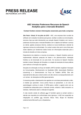 ASC Introduz Poderosos Recursos de Speech Analytics para o