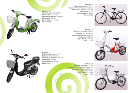 Modelo: L1 Potencia do motor: 250 W Bateria: 36V, 10A (Iões de
