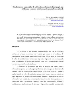 Estudo de uso: uma análise de utilização das fontes de informação