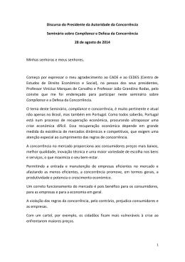 Discurso do Presidente da Autoridade da Concorrência Seminário