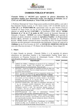 Chamada Pública n.º 001/2015 para aquisição de gêneros