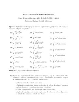Lista de exercícios para VE1 Cálculo IIA