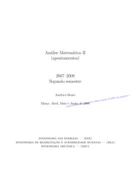 Análise Matemática II (apontamentos) 2007–2008