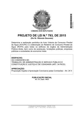 PROJETO DE LEI N.º 793, DE 2015