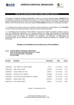 Convocação - Perícia Médica - Agência Espacial Brasileira
