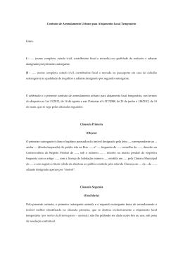 Contrato de Arrendamento Urbano para Alojamento
