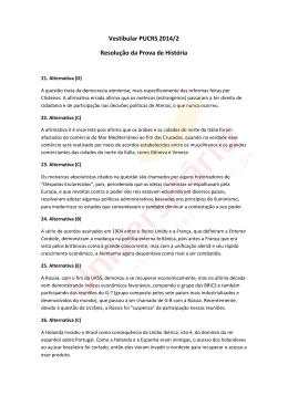 Resolução da Prova de História | Vestibular PUCRS 2014/2