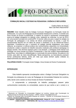 35 FORMAÇÃO INICIAL E ESTÁGIO NA PEDAGOGIA