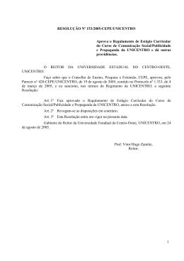 RESOLUÇÃO Nº 153/2005-CEPE/UNICENTRO Aprova o
