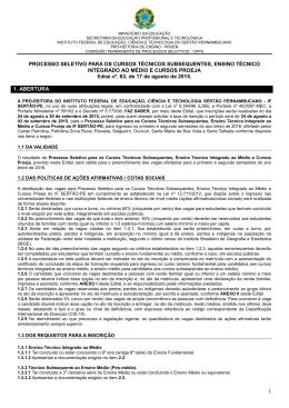PROCESSO SELETIVO PARA OS CURSOS - IF Sertão-PE